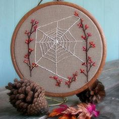 Autumn Spiderweb 8 inch Wall Art Embroidered by FoxtailCreekStudio