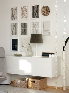 Use a BESTA cabinet as a sleek console table by mounting it on the wall like thi. - Ikea DIY - The best IKEA hacks all in one place Home Interior, Interior Styling, Interior Design, Home Living Room, Living Spaces, Floating Cabinets, Wall Cabinets, Storage Cabinets, Living Room Inspiration