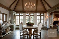 Vintage inspired Interior, designed by Anne Marie Barton #ambdesign #interiordesign #vintage #vaultedceiling #diningroom