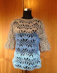 Blusa em crochet de grampo, fio de algodão e poliamida, importado de Lisboa, PT.