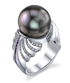 Platinum ring with a sandblast finish, featuring a 13.5mm black Tahitian pearl, 0.43ctw of pink sapphires, and 0.74ctw of white diamonds. This piece is available for reproduction. Contact us to find o