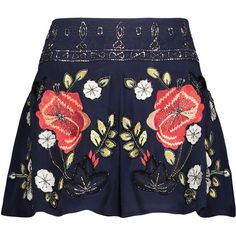 Haute Hippie Hawaiian bead-embellished embroidered silk shorts (€320) ❤ liked on Polyvore featuring shorts, skirts, bottoms, pants, storm blue, hawaiian shorts, loose shorts, blue shorts, mid rise shorts and colorful shorts