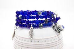 Cobalt Blue Charm Bracelet Deep Blue Memory Wire Bracelet