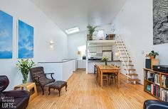 The great advantage of this three-level home is that you can access the workspace from the street without disturbing those upstairs Light Well, Level Homes, Sloped Ceiling, Skylight, Condo, Real Estate, Lofts, Space, Bedroom