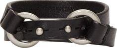 Maison Margiela Black Leather & Brushed Silver Bracelet