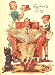"jcleyendecker: "" vintageholidays: "" ""Father's Day"" - cover art by J. Leyendecker from ""The American Weekly"" magazine; June 1947 "" Happy father's day from JC Leyendecker! Images Vintage, Photo Vintage, Vintage Posters, Vintage Art, Retro Kunst, Retro Art, American Illustration, Illustration Mode, Cover Art"