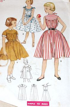Vintage 1950s Pattern Simplicity 4579 Girls Dress Gathered Yoke Uncut Size 10 #Simplicity
