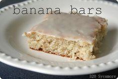Banana Bars- like soft banana bread with glaze