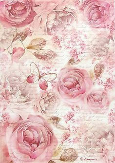Details about Rice Paper for Decoupage, Scrapbook Sheet, Craft Paper Pink Roses.By Artist Single Vintage Table Paper Napkins Lunch Decoupage Decopatch Bunch of flowersLight pink roses on scroll frame.Decoupage three ways – what types of paper Papel Vintage, Decoupage Vintage, Vintage Diy, Vintage Ephemera, Vintage Paper, Vintage Images, Vintage Cards, Vintage Table, Decoupage Printables
