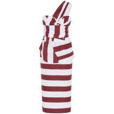 No. 21 One Shoulder Striped Dress ($1,687) ❤ liked on Polyvore featuring dresses, polka dot dress, dot dress, striped dress, mixed print dress and off one shoulder dress