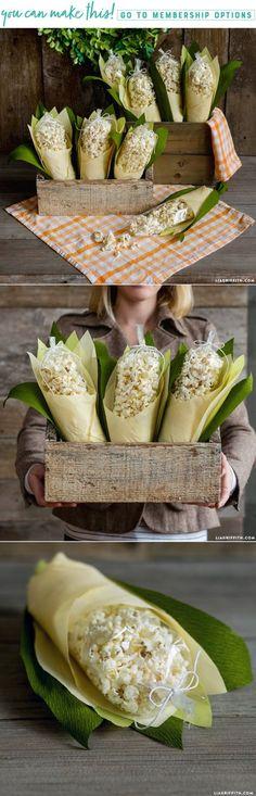 DIY Crepe Paper Corn Husk Popcorn Treats - www.LiaGriffith.com #DIYThanksgiving #ThanksgivingIdeas #DIYFall #ThanksgivingPartyIdeas #DIYPopcorn