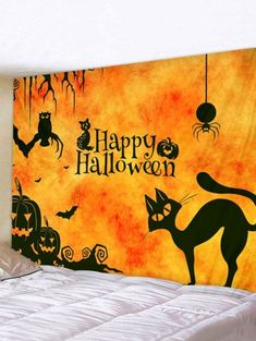 Halloween Cat Wall Tapestry Art Decoration - multicolor X INCH Chat Halloween, Halloween Wall Decor, Halloween Cartoons, Halloween Drawings, Halloween Ideas, Inspire Me Home Decor, Hanging Art, Tapestry Wall Hanging, Reproductions Murales