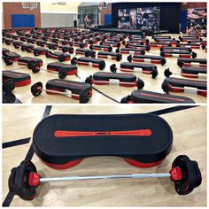 Les Mills Super Q setup with Smartbars - http://aladygoeswest.com/2015/05/19/an-amazing-day-of-group-fitness-at-the-super-q/