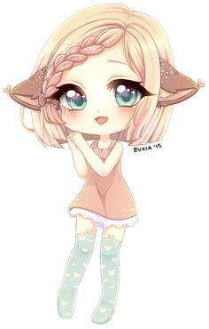"""{ Be the chibi } I smile at the little chibi deer eating oats at my table. Every few seconds she looks up and me and wiggles her tail. Eventually, she holds her hands up and I pick her up. """"Momma, me want sleepy now. Gato Anime, Dibujos Anime Chibi, Cute Anime Chibi, Manga Cute, Arte Do Kawaii, Manga Kawaii, Kawaii Chibi, Kawaii Art, Kawaii Drawings"""