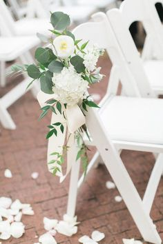 Romantic and elegant floral wedding chair decoration. Perfect floral wedding decor - beautiful flowers wedding table decor and backdrop decor! Perfect for an elegant and chic wedding! Church Pew Wedding Decorations, Wedding Centerpieces, Wedding Bouquets, Bridesmaid Bouquet, Tall Centerpiece, Flower Bouquets, Church Ceremony Decor, Bridesmaids, Church Pews