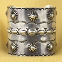 Large Stamp/Repousse Silver Cuff