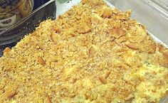 Chicken Casserole.....chicken, cream of chicken soup, sour cream, crushed Ritz crackers and melted butter.....sounds easy enough.  There is also a recipe for creamed corn on this page.....yum!