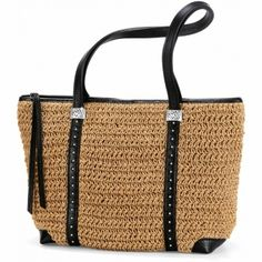 Woven leather handles complement the exquisite woven straw on the E...
