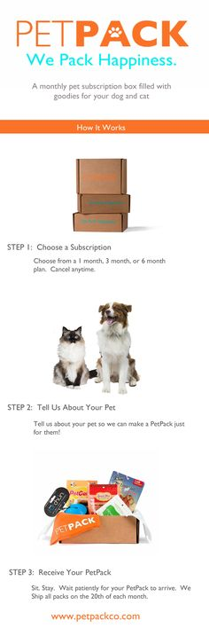 PetPack:  A monthly pet subscription box filled with goodies for your dog or cat.  Plans start at just $19/ month  www.petpackco.com