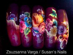 One stroke Nail art by yolanda Butterfly Nail Designs, Beautiful Nail Designs, Nail Swag, Garra, Diva Nails, Fun Nails, French Nails, Nail Polish Designs, Nail Art Designs