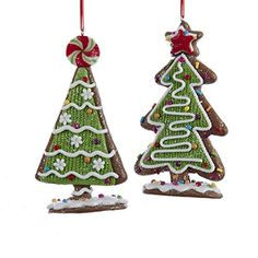 2 Assorted: Peppermint Candy Top and Star Top Crafted of durable claydough material Beautifully painted and decorated