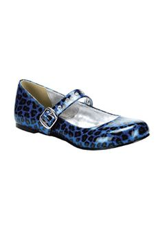 DAISY-04 Blue Cheetah Shoes - Gothic industrial punk and emo shoes
