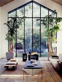 Steel frames massive window