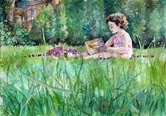 How to paint grass with watercolor. By French Toast Girl.