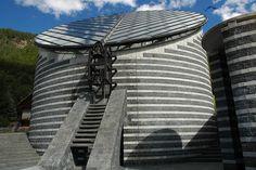 Chiesa di San Giovanni Battista, church by Mario Botta in Mogno, Ticino, Switzerland, finished 1997