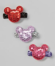 Loving this Red, Purple & Hot Pink Sequin Mouse Clip Set on #zulily! #zulilyfinds