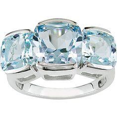 Sterling Three-stone Blue Topaz Ring (Sterling 3-Stone Blue Topaz Ring), Women's