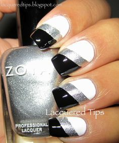 My prom nails!!! Black white and silver nails nail art www.finditforweddings.com
