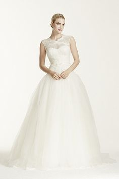 Lace and Tulle Ballgown with Illusion Neckline ZP345016