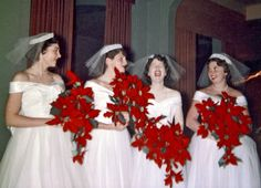 December 12, 1954. A quartet of poinsettia-brandishing bridesmaids share a moment of post-ceremony frivolity at my cousin's wedding receptio...