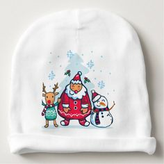 Merry Christmas Cute santa Baby Beanie - merry christmas diy xmas present gift idea family holidays