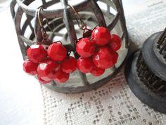 Fun red repurposed earrings by salvagegardener on Etsy, $14.00