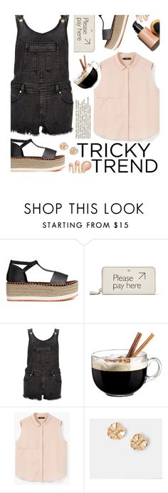 """""""Tricky Trend: Overalls"""" by justkejti ❤ liked on Polyvore featuring H&M, Anya Hindmarch, River Island, Luminarc and MANGO"""