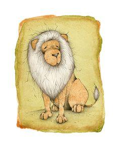 Illustration de Lion philosophique impression par amidthetrees