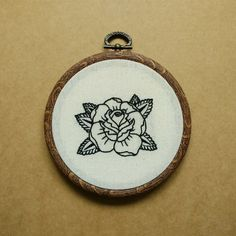 Rose Tattoo Hand Embroidery Hoop Art ( embroidery wall hanging) (flower tattoo…