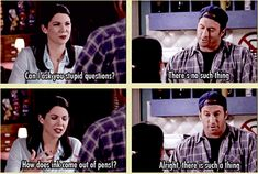 Gilmore Girls :) lol i hate when people say there are no stupid questions Rory And Logan, Luke And Lorelai, Team Logan, Lorelai Gilmore, Gilmore Girls Quotes, Movie Quotes, Tv Quotes, Favorite Tv Shows, I Laughed