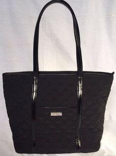 VERA BRADLEY New With Tags Trimmed Vera Classic Black Tote Handbag RRP  108USD Tote Purse 2c018081b15e3