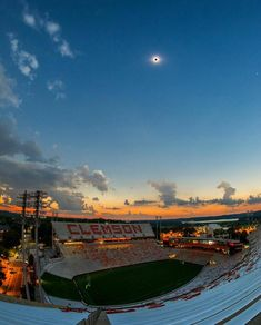 Eclipse of Aug, 2017 over Clemson football field Clemson Football, College Football Teams, Football Stadiums, Football Field, Clemson Tigers, Auburn Tigers, Clemson Wallpaper