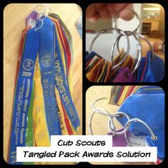 Tired of tangled award banners hanging from your flag? Remove the string and put them on shower curtain rings. Easy to put on, easy to remove when outdated, and it keeps them in order. You can even categorize them. Attach the rings to a key ring to hang from your pack/troop flag. #cubscouts #boyscouts #bsa