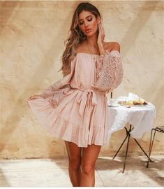 Off Shoulder Belt Plain Bell Sleeve Long Sleeve Skater Casual Dresses Boho Fashion Summer, Pink Fashion, Feminine Fashion, Fashion Women, Bohemian Fashion, Fashion 2018, Women's Fashion, Maxi Dress With Sleeves, The Dress