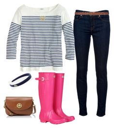 """""""Pink Hunters"""" by southern-and-preppy ❤ liked on Polyvore featuring J Brand, J.Crew, Hunter, Lacoste, Tory Burch and Zara"""