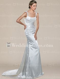 Modest Beaded Wedding Gown with Straps DE098