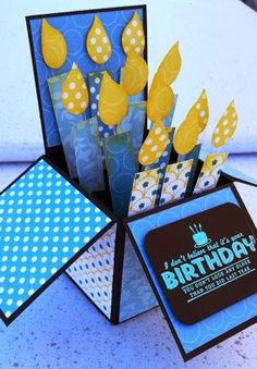 Card in a box, these usually don't do much for me, but I like this one. Use AccuCut die Card in a Box Would also look good with Note Card Z-Fold Tamsininamania - MORE SAB 2014 Card Pics, See Ya Later, Birthday card box Pop Up Box Cards, 3d Cards, Cute Cards, Stampin Up Cards, Card Boxes, Fancy Fold Cards, Folded Cards, Exploding Box Card, Interactive Cards