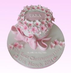Floral Ring Christening Cake  www.littlecakefairydublin.com www.facebook.com/littlecakefairydublin Holy Communion Cakes, Cake Day, Baby Shower Cakes, Christening, Pretty In Pink, Holi, Birthday Cake, Ring, Confirmation