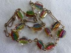 Art Deco  Czech/Venetian Rainbow Iris Cane Glass Cube  Bead Necklace