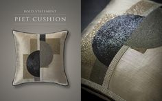 Piet cushion in Art Deco style is a new addition in  to our Couture collection of hand embroidered cushions